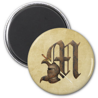 Rusty Knights Initial M 2 Inch Round Magnet