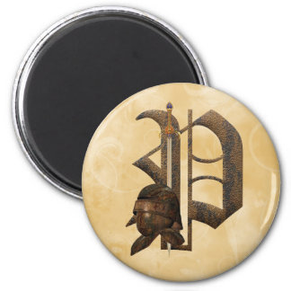 Rusty Knights Initial P 2 Inch Round Magnet