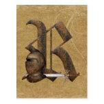 Rusty Knights Initial R Postcard
