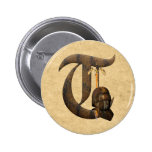 Rusty Knights Initial T 2 Inch Round Button