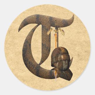 Rusty Knights Initial T Classic Round Sticker