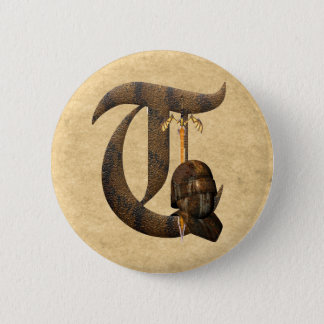 Rusty Knights Initial T Pinback Button
