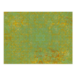 Rusty LIme Green Pattern Background Postcard