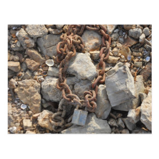 Rusty Lock and Chain on Rocks Post Cards