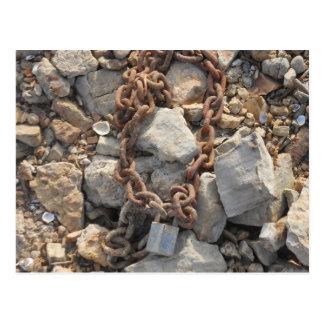 Rusty Lock and Chain on Rocks Postcard