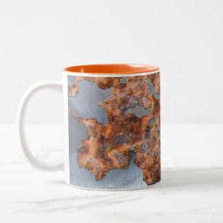 Rusty Metal Funny Corroded Steel Drinkware Two-Tone Coffee Mug