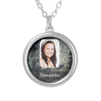 Rusty metal personalized photo template round pendant necklace