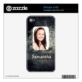 Rusty metal personalized photo template skins for the iPhone 4S