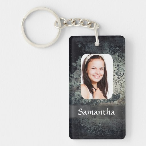 Rusty metal photo template rectangle acrylic keychains