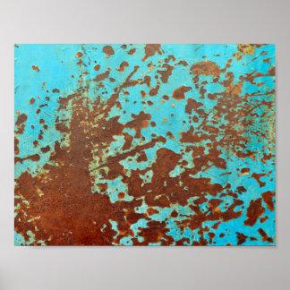 rusty metal plate blue grunge sheet rust poster