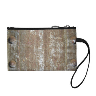 Rusty Metal Plate With Screws Change Purse