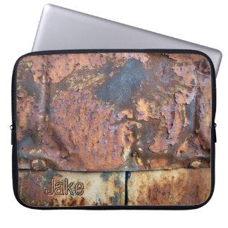 Rusty Metal Siding Old Industrial Building Name Laptop Sleeve