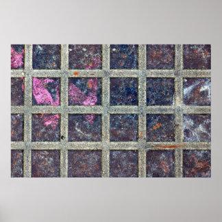 rusty metal squares poster