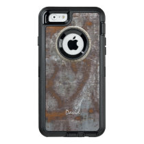 Rusty Metal Steampunk with Name Cool OtterBox Defender iPhone Case