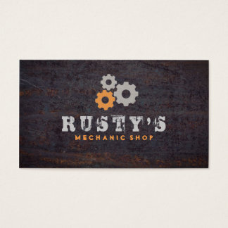 Rusty Metal Texture Mechanic Shop Business Card