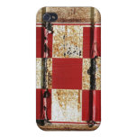 Rusty Metal w/ Red Squares Texture iPhone 4 Case