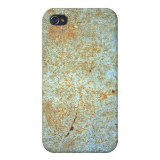 Rusty metal with blue scratched paint. iPhone 4 cases