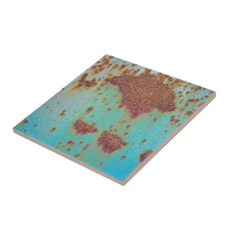 Rusty Metal With Blue Scratched Paint Tiles
