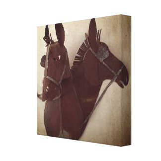 Rusty Mule Heads print on stretched canvas