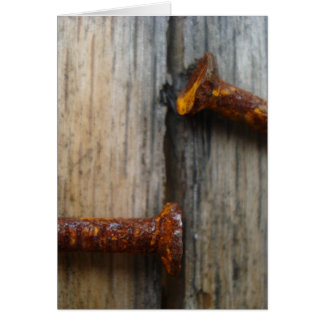 Rusty nails in wood2 greeting cards