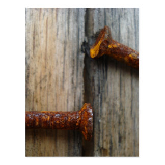 Rusty nails in wood2 postcard