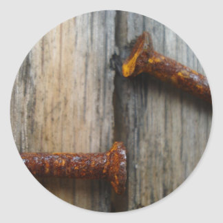 Rusty nails in wood2 round stickers
