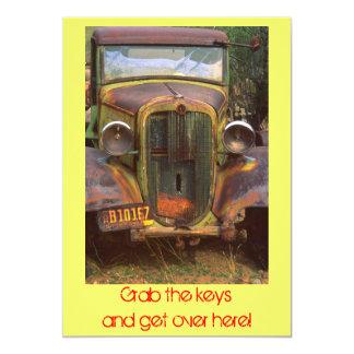 Rusty old car invitation