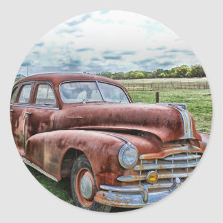Rusty Old Classic Car Vintage Automobile Classic Round Sticker