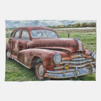 Rusty Old Classic Car Vintage Automobile Hand Towels
