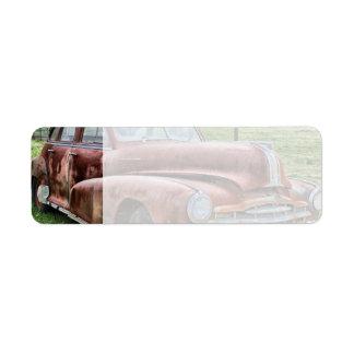 Rusty Old Classic Car Vintage Automobile Label