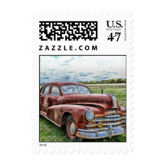 Rusty Old Classic Car Vintage Automobile Postage