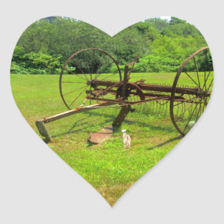 Rusty Old Farm Equipment Heart Sticker