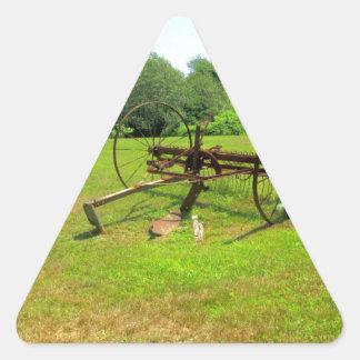 Rusty Old Farm Equipment Triangle Stickers