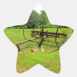 Rusty Old Farm Equipment Star Sticker