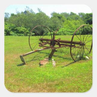 Rusty Old Farm Equipment Square Sticker