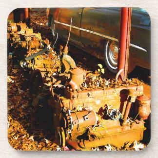 Rusty Old Flathead Engines Junkyard Fun Beverage Coaster