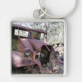 Rusty Old Junk Yard Cars-  Keychain