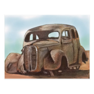 .rusty old relic abandoned in desert postcard