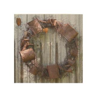 Rusty old tins wood print