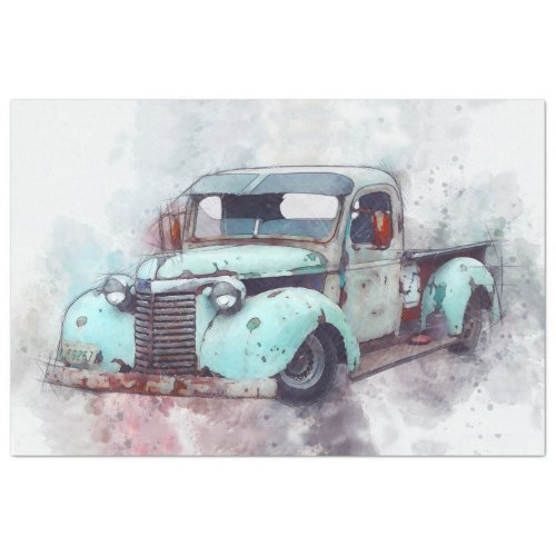 Rusty Old Truck Vintage 20x30  Decoupage Tissue Paper