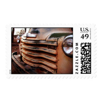 Rusty old truck wreck, pick-up vintage truck photo postage