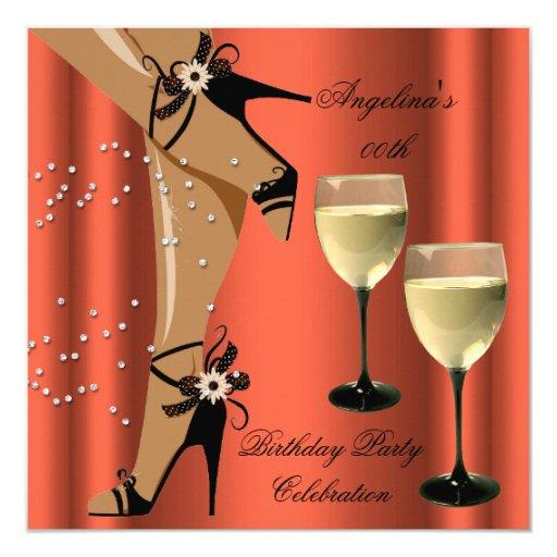 Rusty Orange Black Shoes Wine Glass Birthday Party Invitation