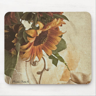 Rusty Orange Sunflowers Mouse Pad