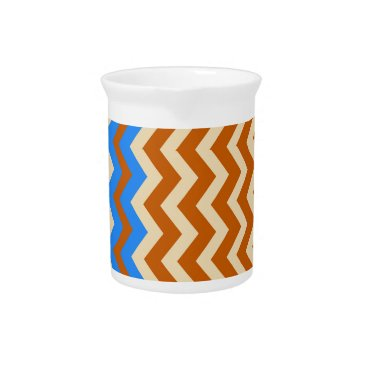 Aztec Themed Rusty Orange Zigzags With Blue Drink Pitcher