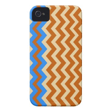 Aztec Themed Rusty Orange Zigzags With Blue iPhone 4 Case-Mate Case