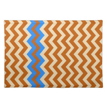 Aztec Themed Rusty Orange Zigzags With Blue Placemat