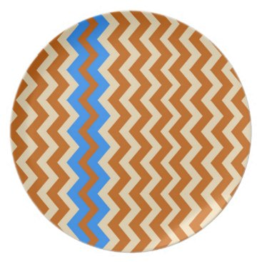 Aztec Themed Rusty Orange Zigzags With Blue Plate