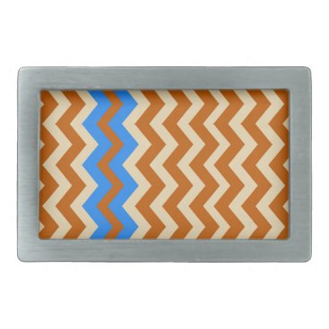 Aztec Themed Rusty Orange Zigzags With Blue Rectangular Belt Buckle