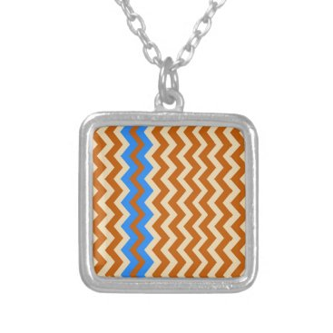 Aztec Themed Rusty Orange Zigzags With Blue Silver Plated Necklace