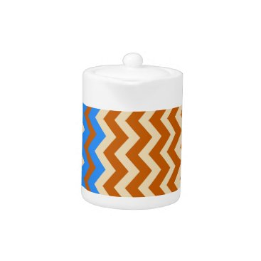 Aztec Themed Rusty Orange Zigzags With Blue Teapot